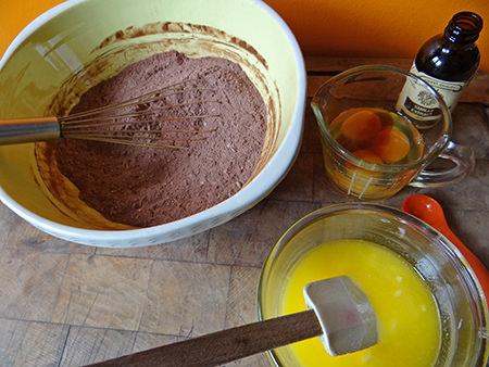coconut brownie dry and wet ingredients | via @hisforhome #recipe #chocolate #brownies