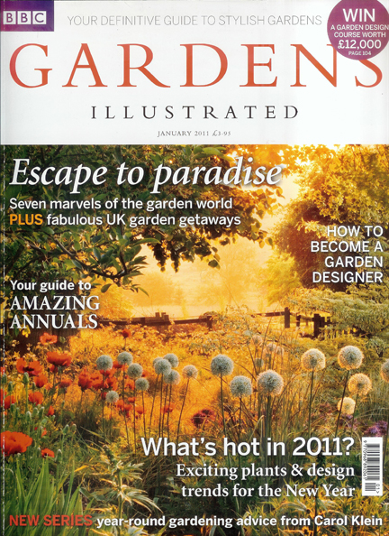 Gardens Illustrated magazine cover, January 2011