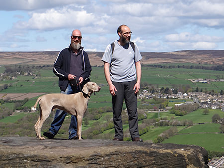 Cedrick, Justin & Fudge on a rock overlooking Ilkley Moor