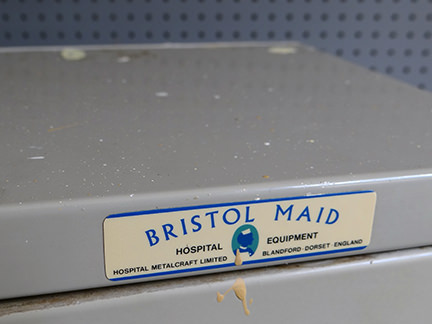 label on a vintage Bristol Maid Hospital Equipment locker
